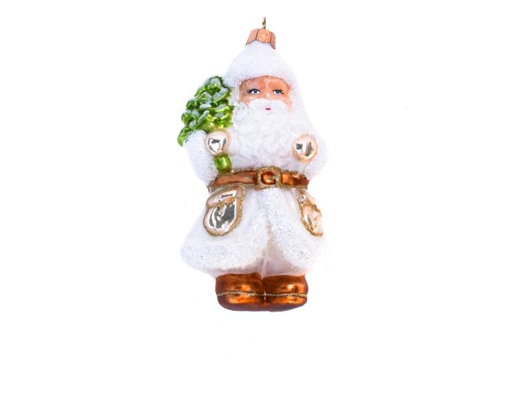 Suspension Père Noël blanc en verre...