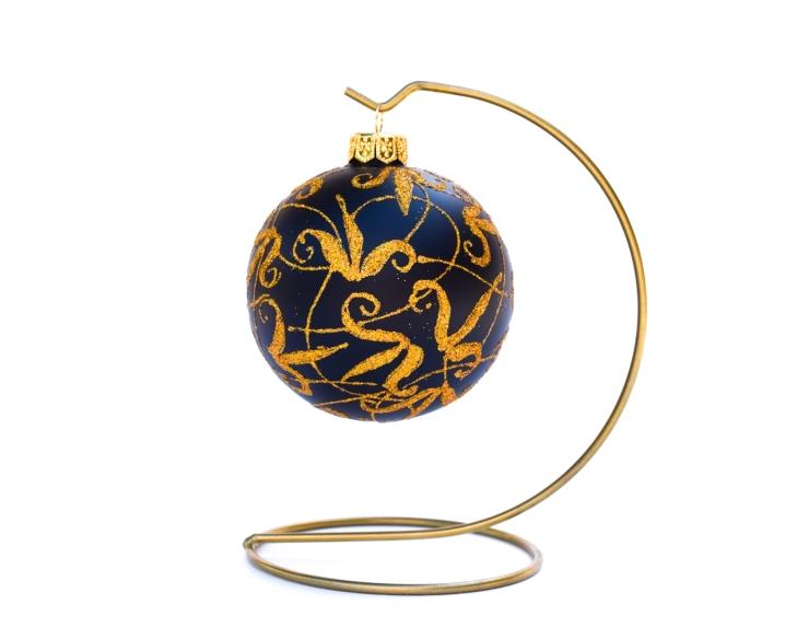 Boule de Noël noire mat motif doré -...