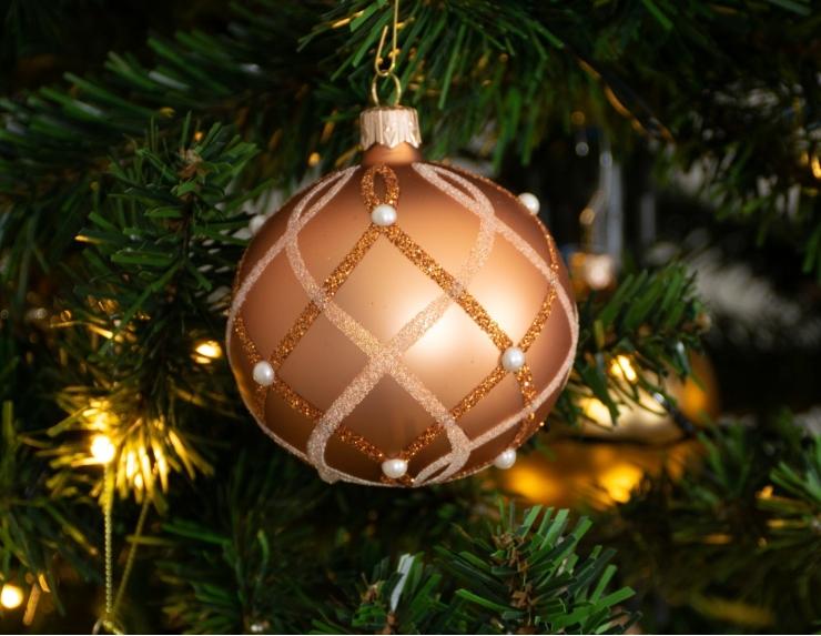 Boule de Noël en verre cuivrée ligne...