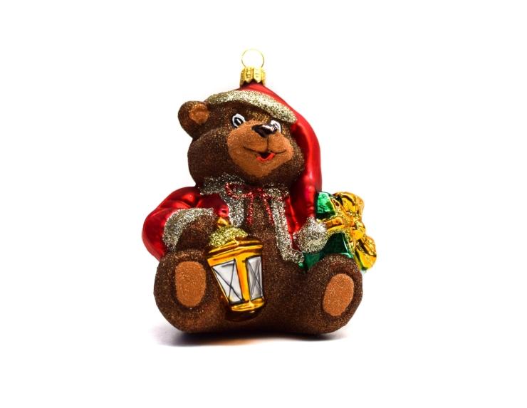 Suspension de Noël en verre ours avec...