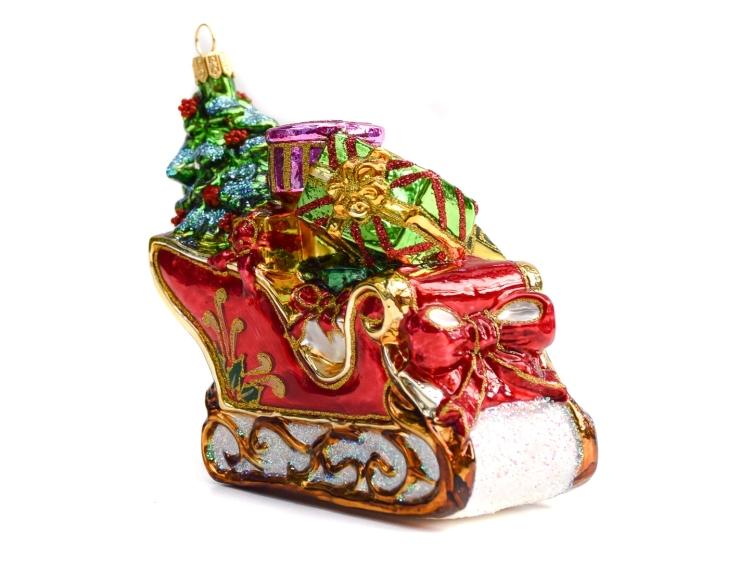 Suspension de Noël en verre traineau...