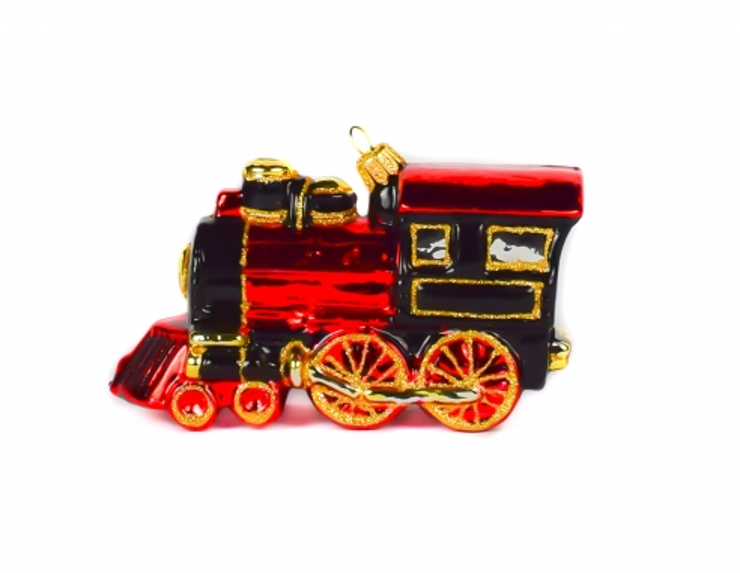 Locomotive rouge noir et doré en...