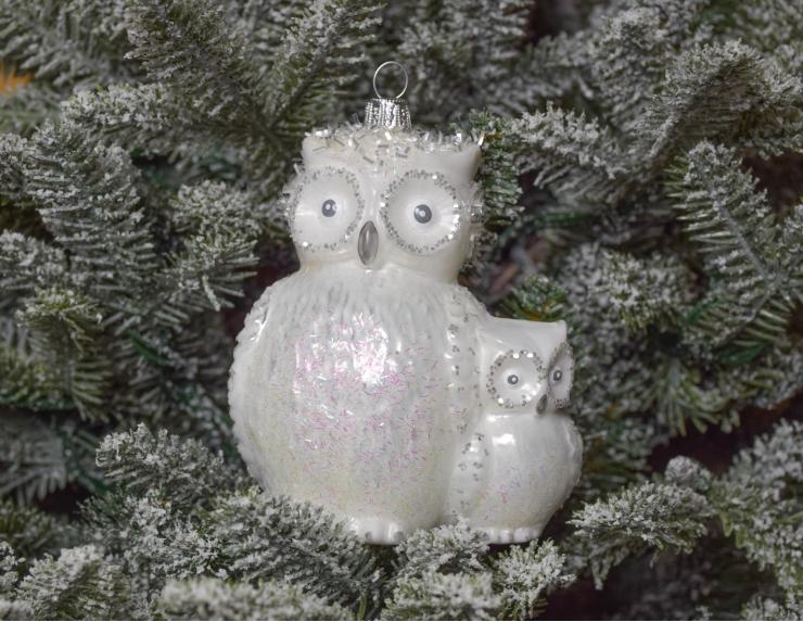 Décoration de Noël hiboux blanc avec...