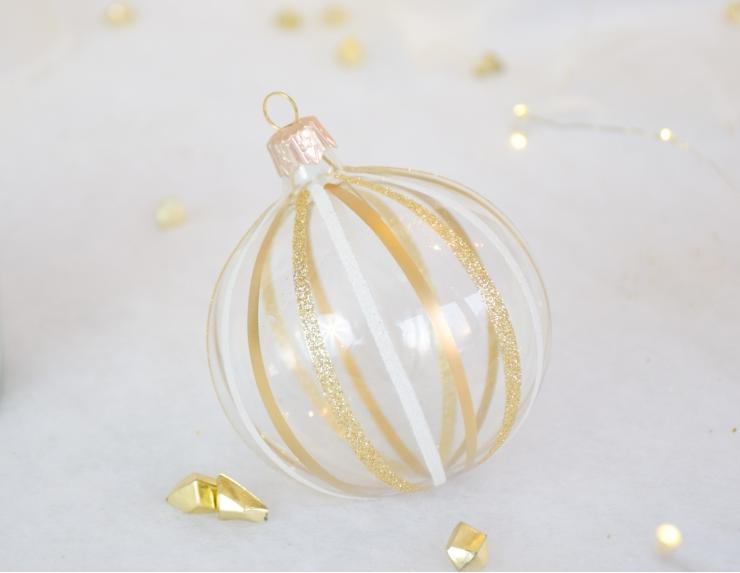 Boule de Noël transparente lignes...