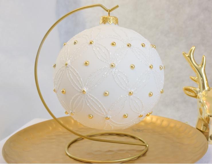 Boule de Noël moderne blanche avec...