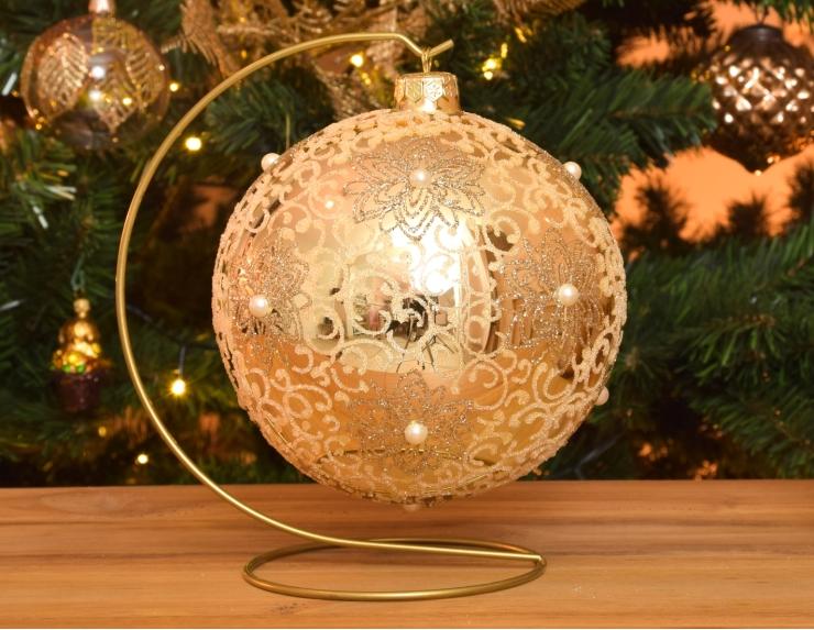 Boule de Noël Shabby Chic crème avec...