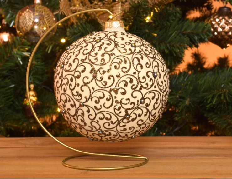 Boule de Noël crème avec support...
