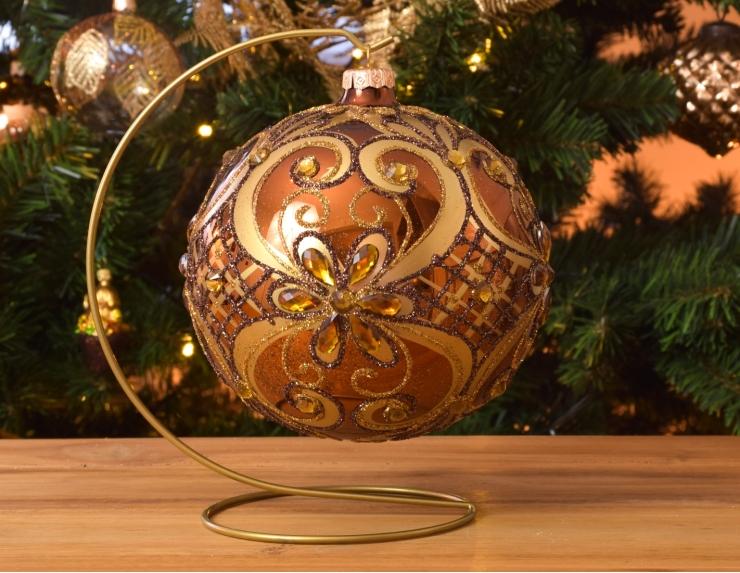 Boule de Noël baroque cuivrée avec...