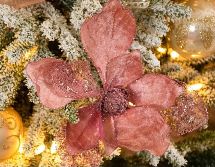 Grande Fleur magnolia rose sur clip -...