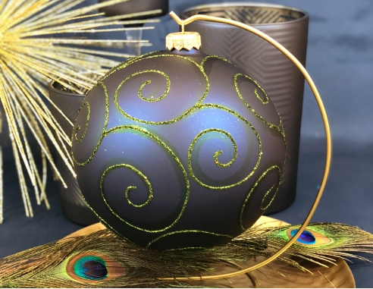 Grande boule de Noël en verre bleu...