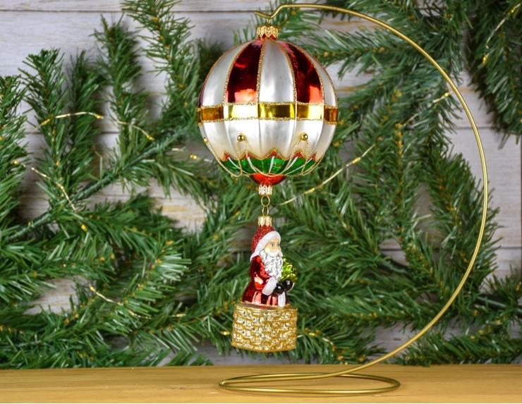 Père Noël en montgolfière en verre...
