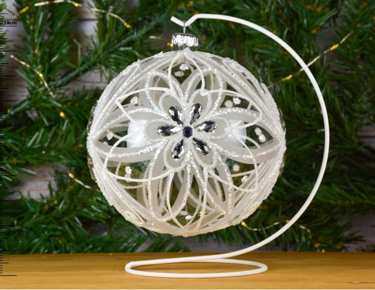 Grande Boule de Noël en verre blanche...