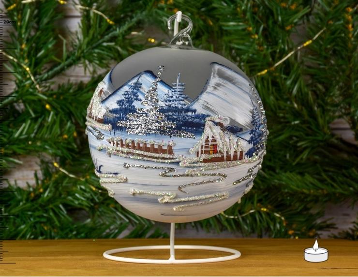 Boule photophore de Noël - 15cm -...