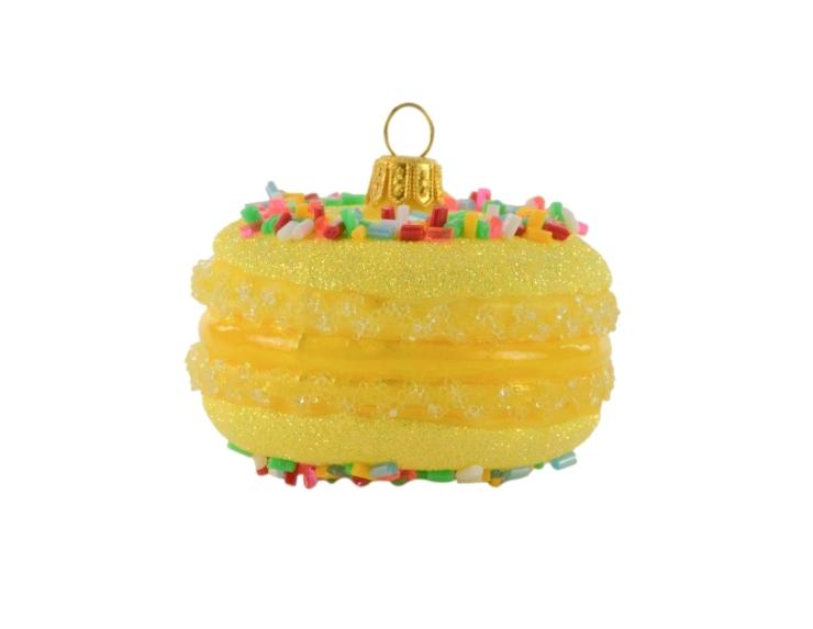 Suspension macaron jaune en verre...