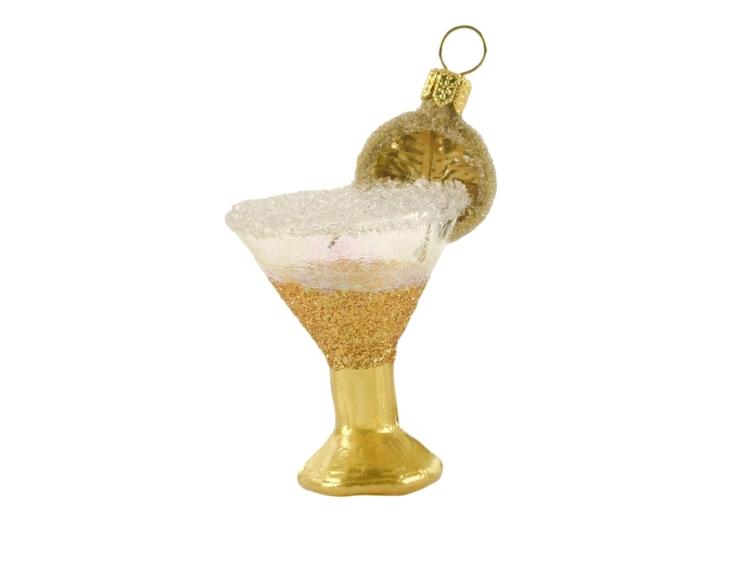 boule de noël verre cocktail doré