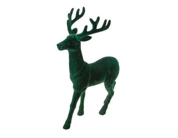 Décoration de Noël renne velours vert - H 40 cm