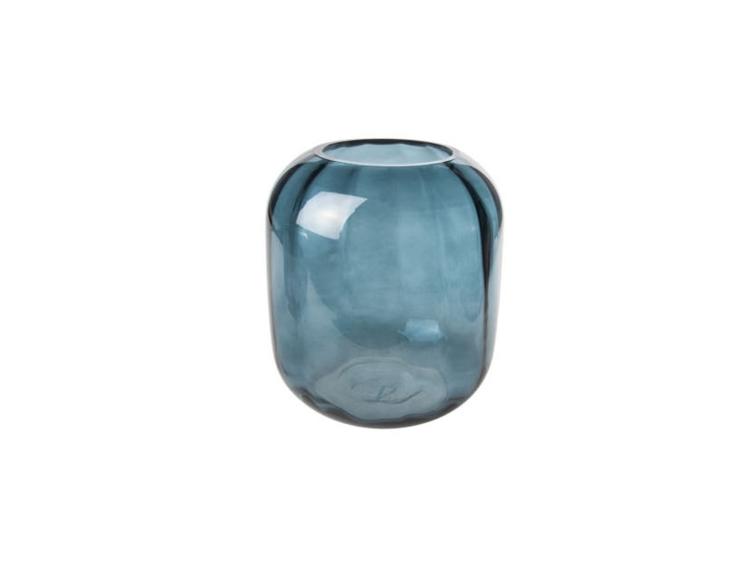 Grand photophore vase bleu pétrol - H 20cm