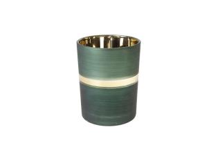 Photophore vert émeraude et or - H 12cm