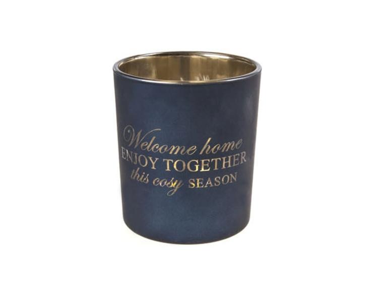 Photophore welcome home bleu marine - H 10cm