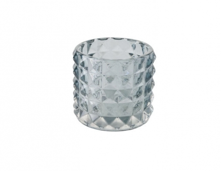 Photophore texturé en verre bleu clair - H 9 cm