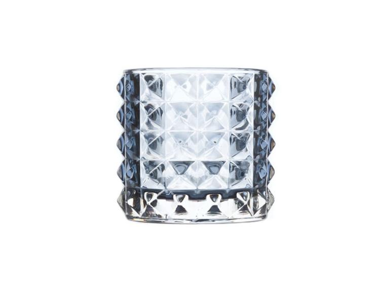 Photophore texturé en verre bleu foncé - H 8