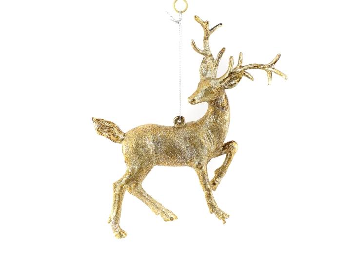 Suspension renne champagne pour arbre de Noël.