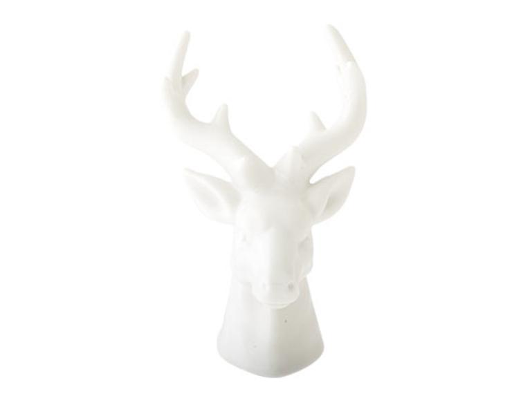 Figurine tête de cerf en céramique blanc