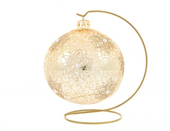 Boule de Noël shabby chic crème avec support décor fleurs paillettées ø 15cm