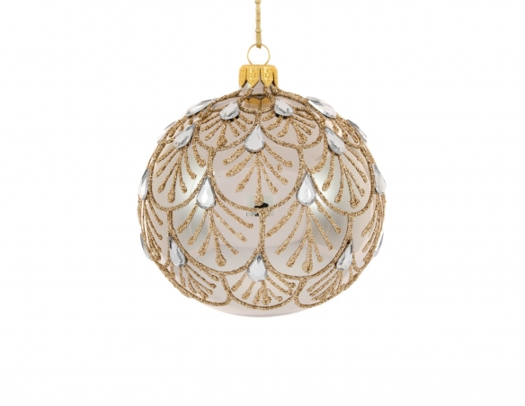 Boule de Noël bronze motif baroque strass goutte ø 10cm