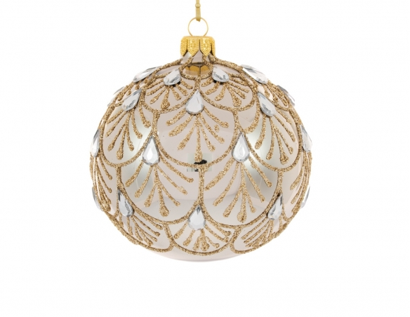 Boule de Noël bronze motif baroque strass goutte ø 12cm