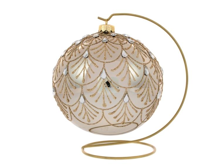 Boule de Noël bronze avec support motif baroque strass goutte ø 15cm