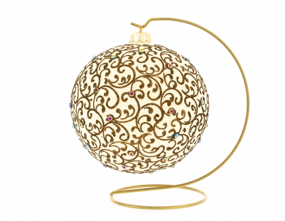 Boule de Noël crème avec support motifs arabesques dorées ø 15cm