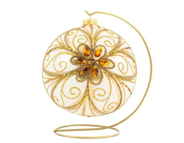 Boule de Noël baroque crème avec cristaux et motif dorés avec support - ø 15cm