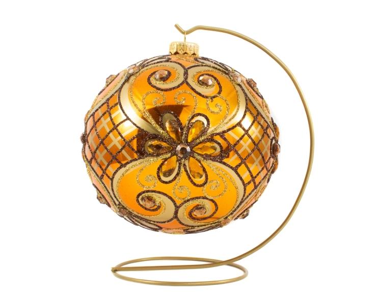 Boule de Noël baroque cuivrée avec strass et paillettes dorés avec support - ø 15cm