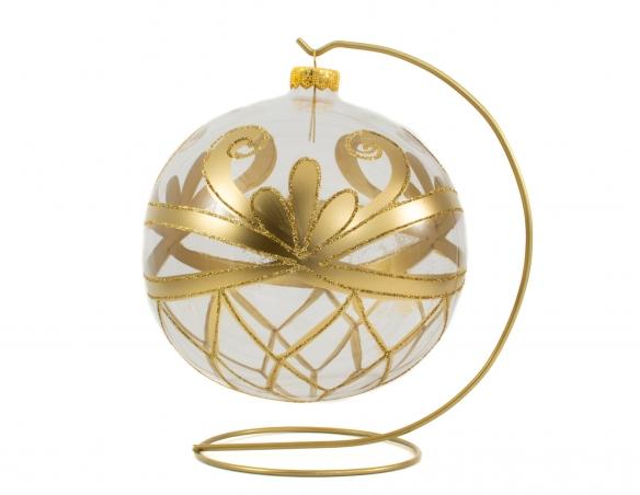 Grande boule de Noël baroque transparente décor doré avec support - ø 15cm