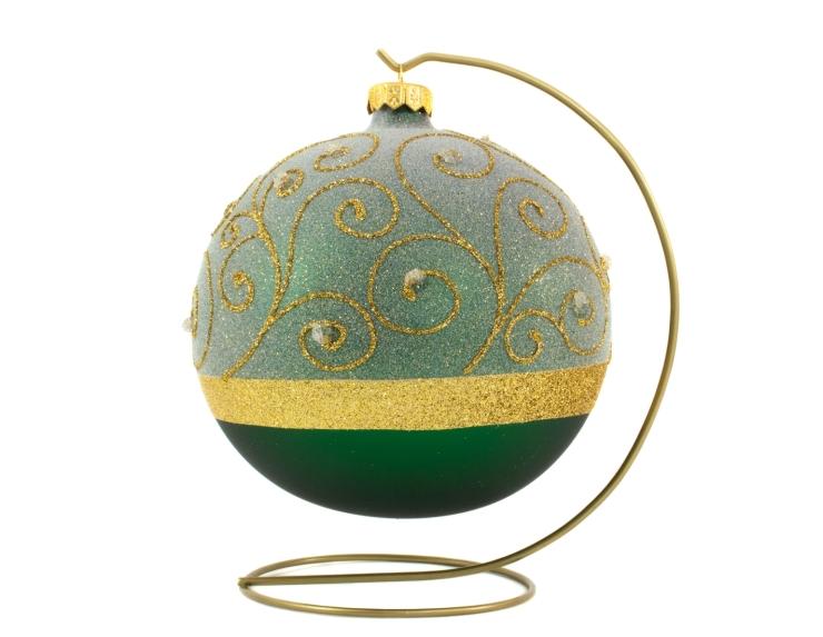 Boule de Noël vert sapin décor doré de style baroque avec support - ø 15cm