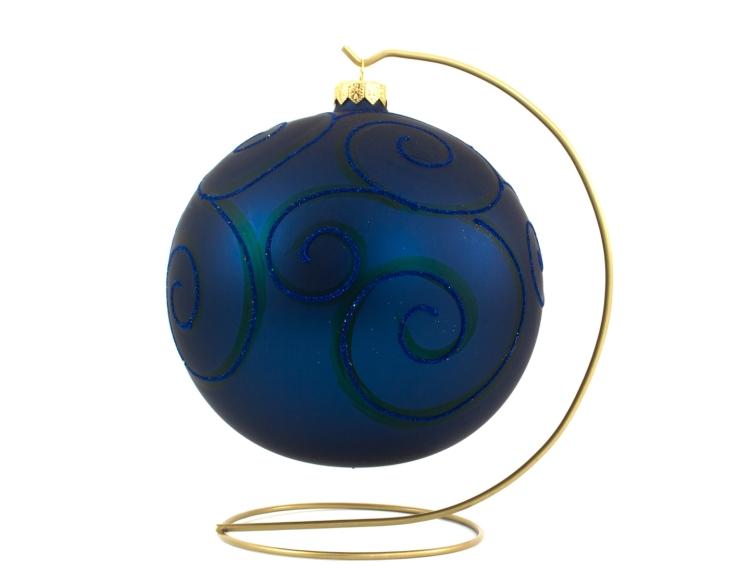 Grande boule de Noël en verre bleu marine spirales bleues pailletées avec support - ø 15cm