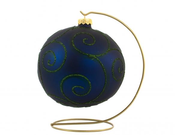 Grande boule de Noël en verre bleu marine spirales vertes pailletées avec support - ø 15cm