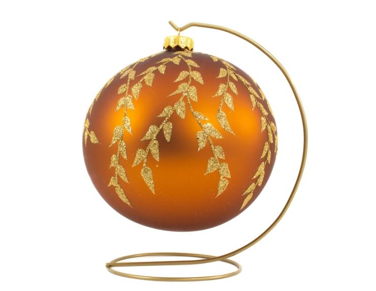 Grande boule de Noël cuivrée décor feuilles dorées avec support - ø 15cm