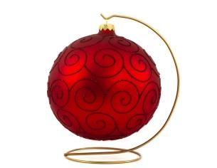 Boule de Noël rouge décor arabesques pailletées rouges - ø 15cm