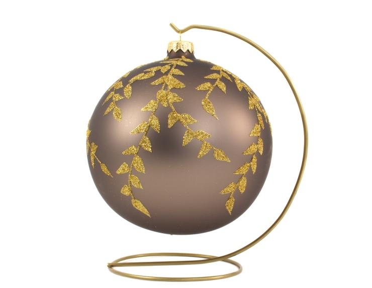 Boule de Noël taupe mat décor feuilles dorées avec support - ø 15cm