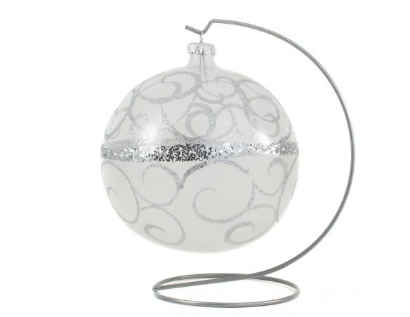 Grande boule de Noël transparente arabesques argentées avec support - ø 15cm