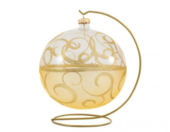 Boule de Noël transparente arabesques dorées - ø 15cm