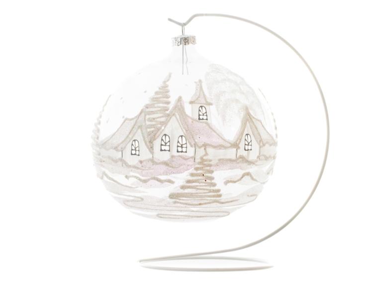 Grande boule de Noël en verre transparente village blanc - ø 15cm