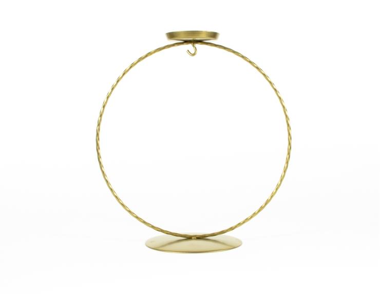 Support pour boule de Noël cercle doré avec bougeoir ø 12 cm