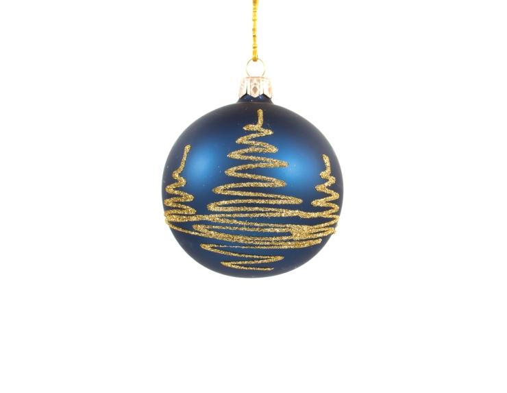 Boule de Noël bleu nuit décor sapin doré - ø 8cm