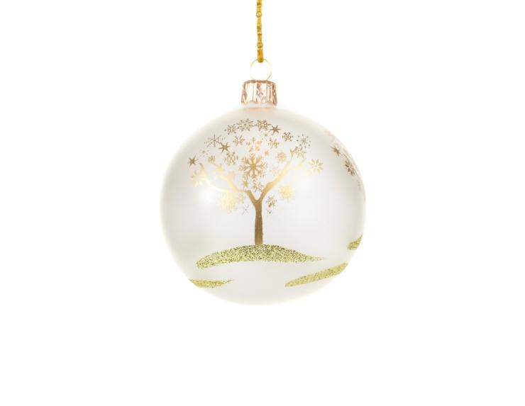Boule de Noël transparante mat décor abre doré - 8cm