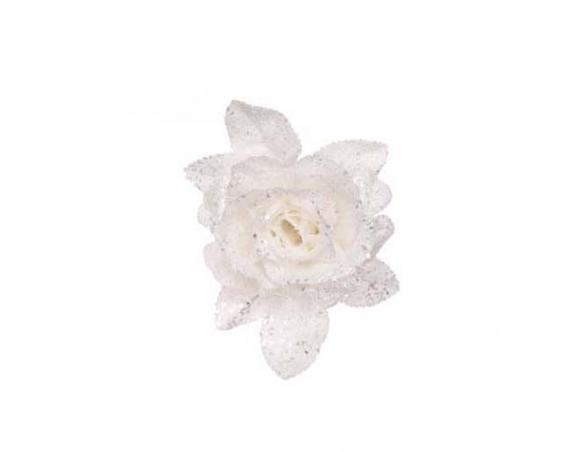 Rose blanche sur clip sapin de Noël - ø 15cm