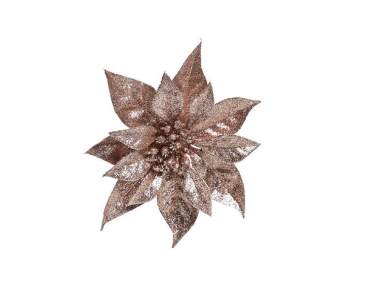 """Rose de Noël brillante """"vieux rose"""" sur clip - ø 18cm"""
