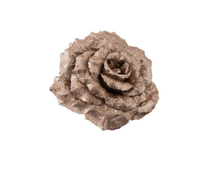 Rose sur clip couleur rose gold - ø 18cm